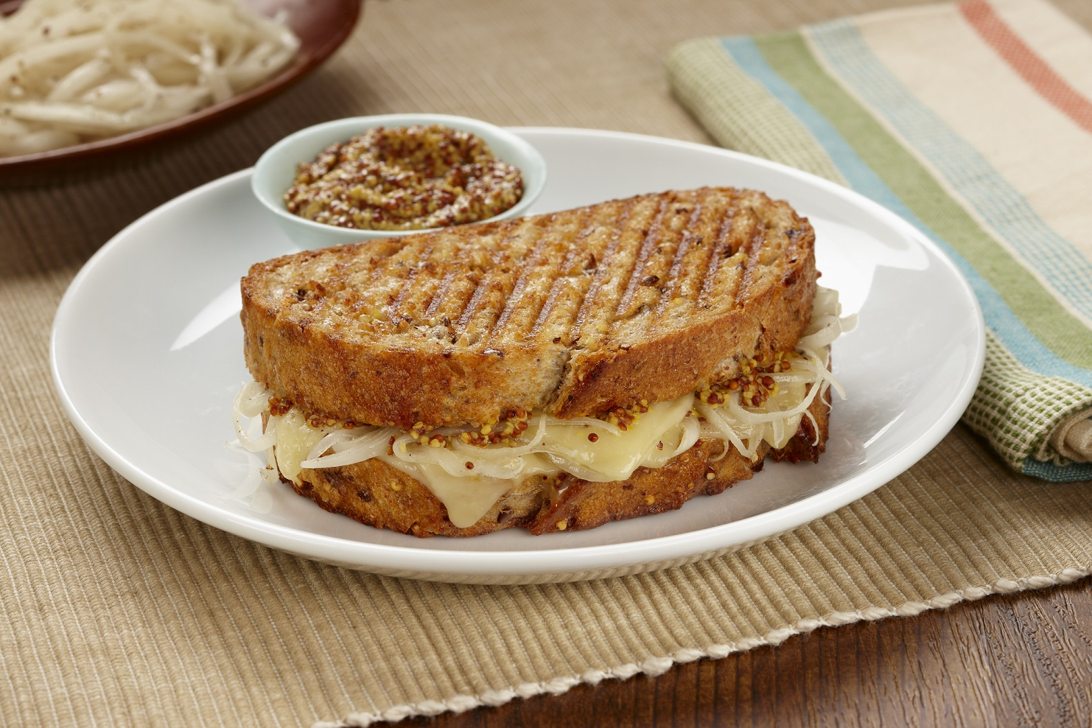 Classic Grilled Cheese with Marinated Onions and Whole-Grain Mustard
