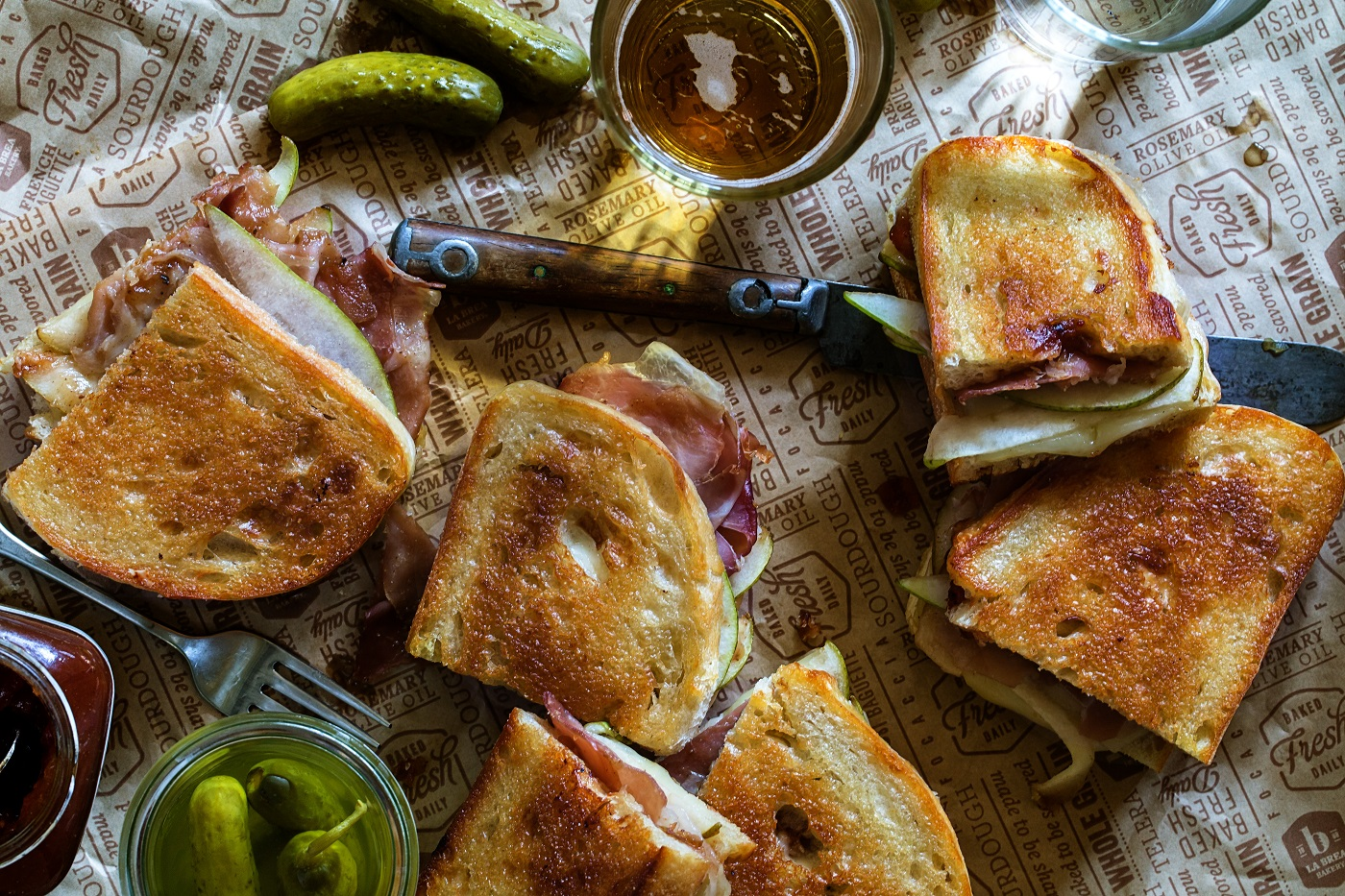 Apple Chutney & Prosciutto Melt with Gruyere Cheese and Pears
