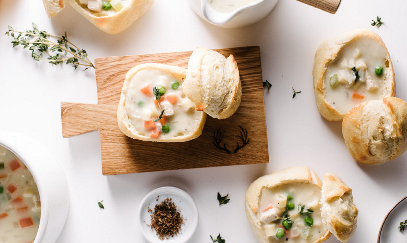 Mini Creamy Chicken Noodle Bread Bowls