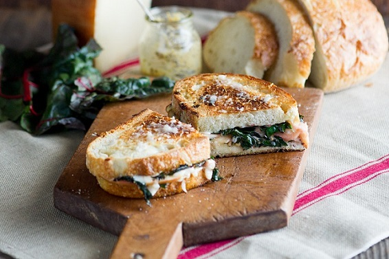 Gruyere Grilled Cheese with Sautéed Chard