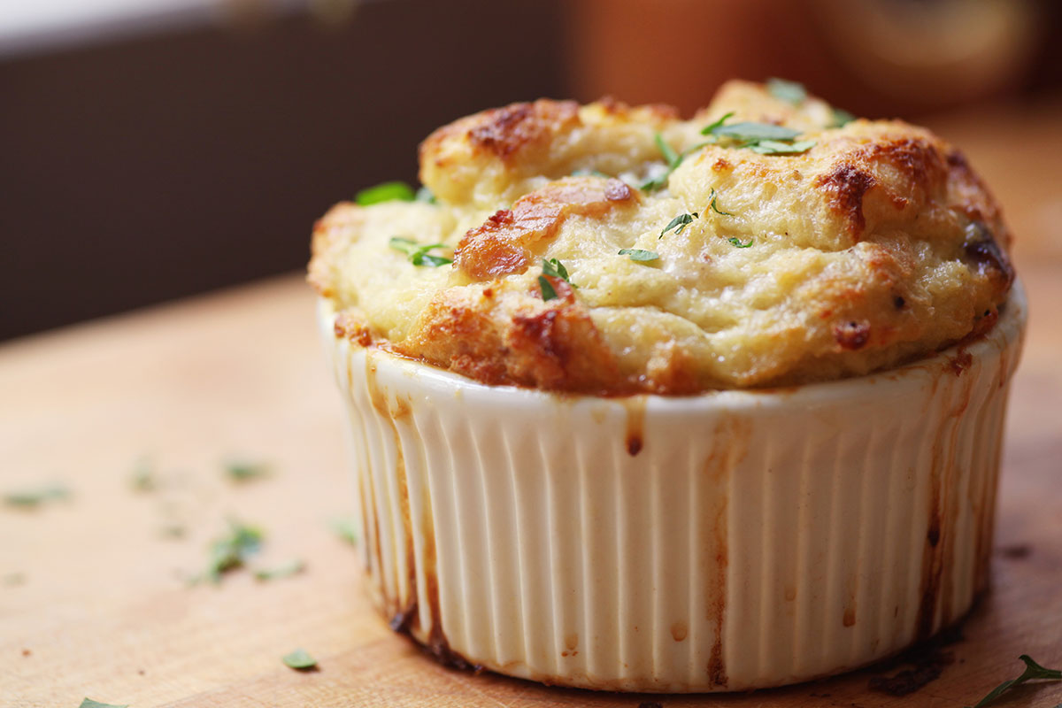 Savory Bread Pudding With Bacon And Greens Recipe — Dishmaps