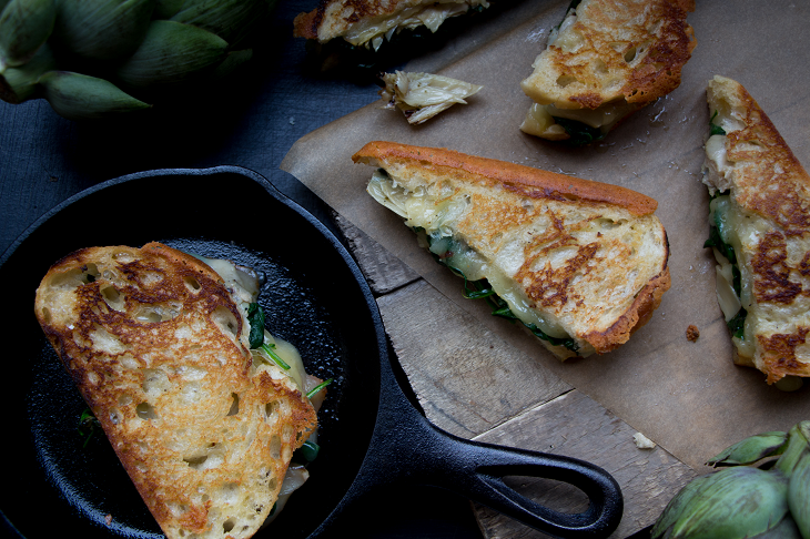 La Brea Bakery Take and bake Tuscan Loaf Sauteed Spinach and Artichoke Grilled Cheese Recipe