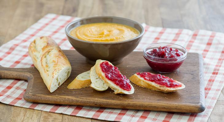 Baked Sweet Potato Soup with Cranberry Croustade