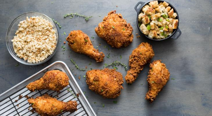 Holiday Stuffing Crusted Fried Chicken