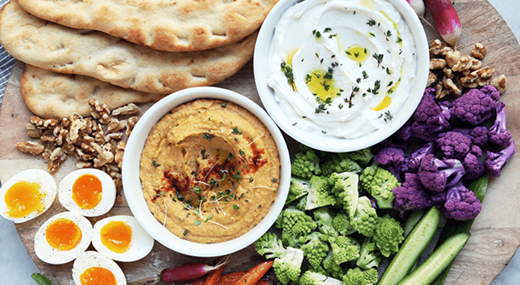 Mezze Platter with Homemade Hummus Recipe