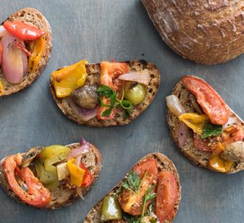 Oven Roasted Seasonal Vegetable Bruschetta