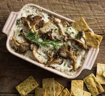 Caramelized Mushrooms and Goat Cheese Dip
