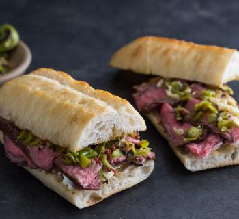 Grilled Hanger Steak Sandwich Recipe with Shishito Pepper Salsa