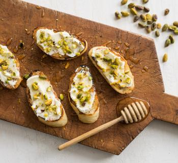 Honey Toast Recipe with Fresh Ricotta and Pistachios