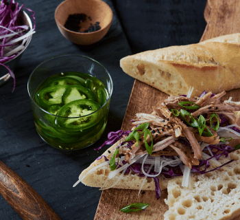 Papaya Slaw and Pork Sandwich