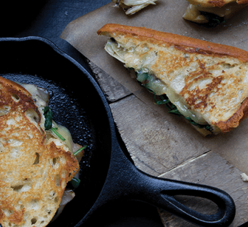 Classic Grilled Cheese with Sautéed Spinach and Artichokes