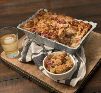 Bourbon-Soaked Cherries Bread Pudding